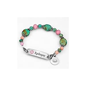 Womens Epilepsy Alert Beach Escape Links of Hope Beaded Bracelet with Medical ID Tag - 7 1/2 inch by StickyJ