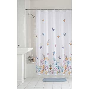 Mainstays Butterfly Fabric Shower Curtain Home Kitchen