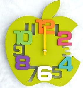 Horloge murale moderne design grand cuisine pendule pomme for Pendule de cuisine amazon