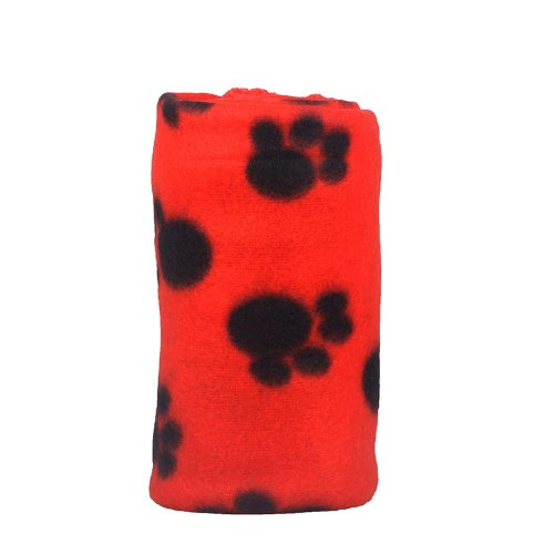 TOMTOP Cute Pet Dog Cat Blanket Paw Prints Soft Fleece Mat Bed Cover (Red)