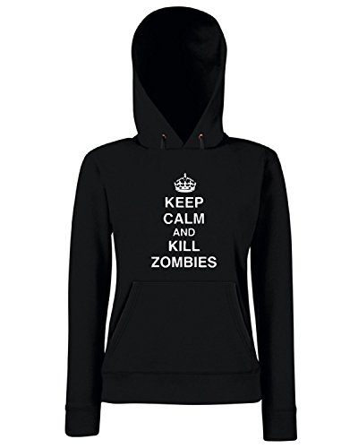 T-Shirtshock - Felpa Donna Cappuccio TZOM0042 keep calm and kill zombies tshirt, Taglia L