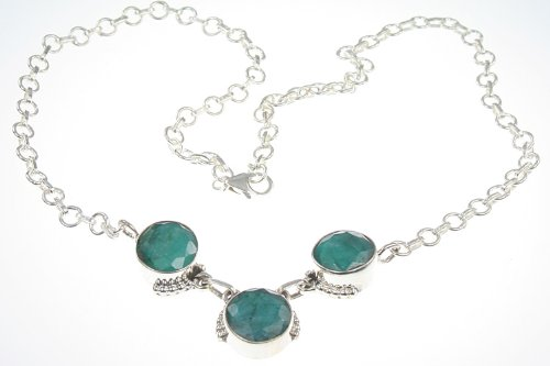 925 Sterling Silver FACETED EMERALD Necklace, 17