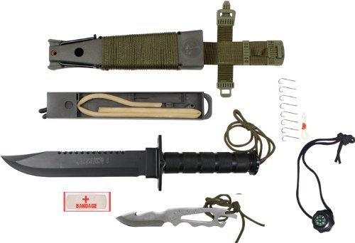 Rothco Sheath/14'' Jungle Survival Kit Knife, Olive Drab