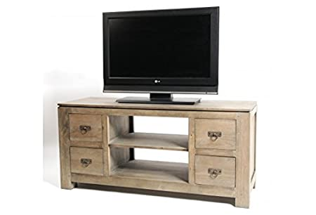 Meuble TV 4 tiroirs en hévéa