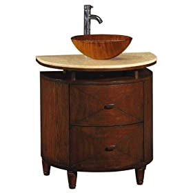 Kyoto Half Moon Single Bathroom Vessel Sink Cabinet with Honey Marble Top and Two Drawers, HNY MRBL/WD GLS, HNY MRBL/DK BRW