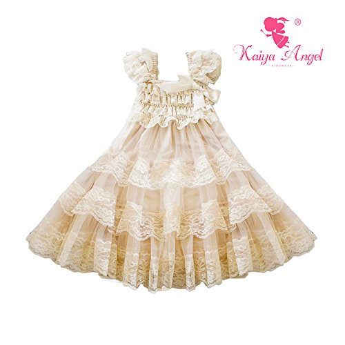 Kaiya Angel Lace Flower Rustic Burlap Girl Baby Country Wedding Flower (L, Champagne)