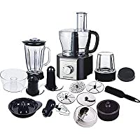 Andrew James Multifunctional Food Processor 800W - Over 10 Different Attachments including Glass Food Blender , Citrus Juicer, Coffee and Nut Grinder , Centifugal Juicer , Electric Whisk , Small and Large Food Processor Bowls.