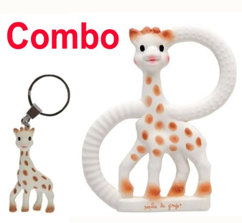 Sophie The Giraffe Vanilla Teething Ring - Gift Boxed! - Plus Sophie the Giraffe Teething Ring Key Chain - 1