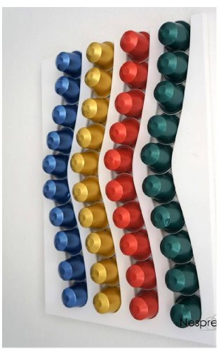 NESPRESSO 40 COFFEE CAPSULE WHITE WALL MOUNTED HOLDER