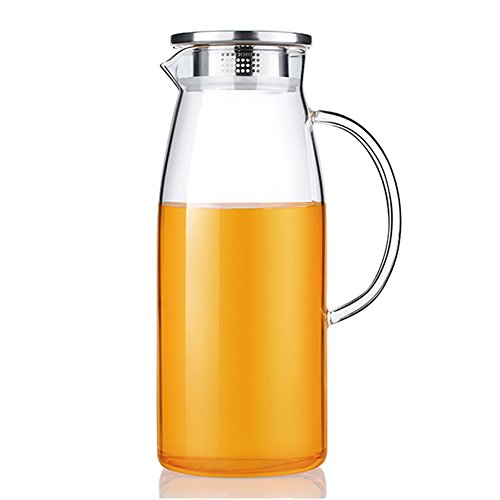 60 Ounces Glass Pitcher with Lid, Hot/Cold Water Jug, Juice and Iced Tea Beverage Carafe (Iced Carafe compare prices)