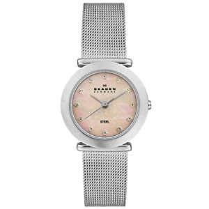 Skagen Women's 107SSSP Steel Collection Crystal Accented Mesh Stainless Steel Pink Dial Watch