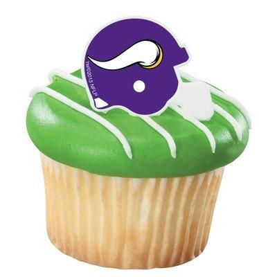 NFL Minnesota Vikings Football Helmet Cupcake Rings - 24 pcs - 1