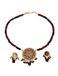 Villcart Meenakari Round Jewellery Set In Various Coloured Metal And Beads For Women
