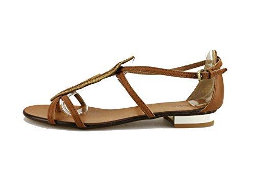 MICHEL BATIC 37 EU sandali donna marrone pelle AG456