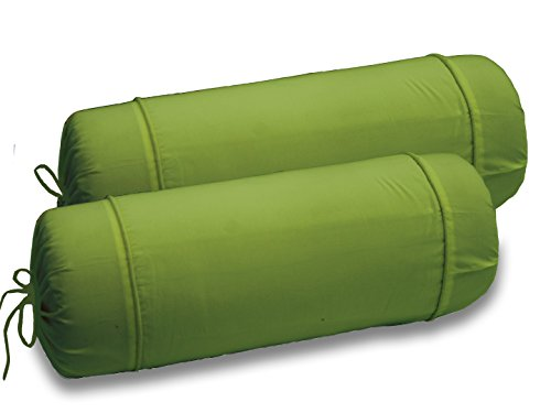 AURAVE Solid Plain Premium Cotton 2 Piece Bolster Cover set - Green