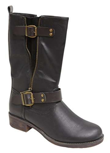 Natural Breeze Richie-04 Women's mid calf open zipper metal stud buckle straps PU boots Black 5.5 (Natural Breeze Shoes compare prices)