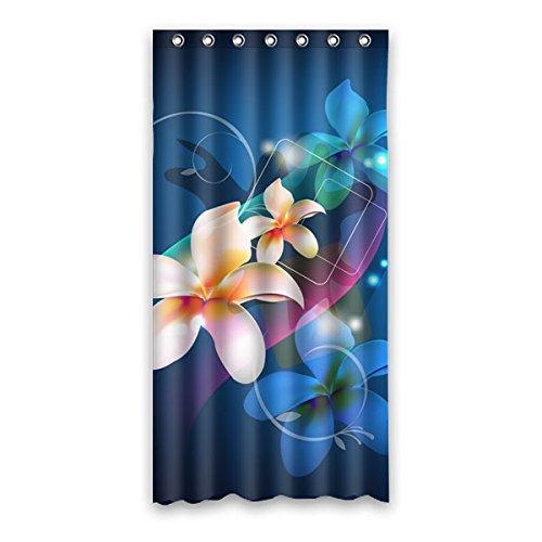"""Stile minimalista belle piante plumeria 3D sfondo è il colore del denim Disegno Poliestere impermeabile bagno tenda della doccia 36""""x72"""" (90cm x 183cm)"""