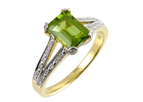 9ct Yellow Gold Single-Stone Peridot with Diamond Set Collette and Shoulders Size O Ladies' Ring
