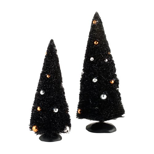 Department 56 Halloween Seasonal Decor Accessories for Village Collections, Midnight Sisals, 3.94-Inch, Set of 2