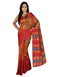 IndusDiva Net Rust and Marroon Banarasi Saree with Zari Work