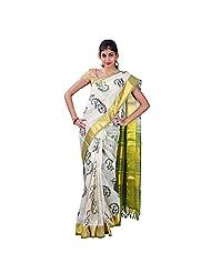 Urvashi Cream Cotton Silk Saree (Urvasi 055)