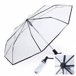 Transparent Fashion Full Automatic Three Folding Rain Umbrellas(Black)