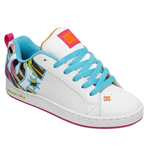 Dc Women'S Court Graffik Se Lace-Up Fashion Sneaker,White/Blue Atoll,6 M Us front-975178