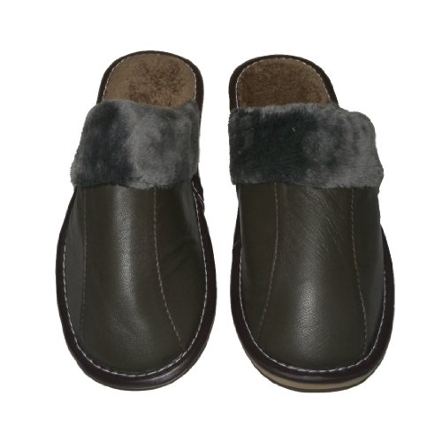 Womens Open Back Lounge Fall and Winter House Slippers with Leather Toe and Rubber Non Slip Sole Dark Green Size US 8 5 EU 40 UK 6