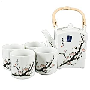 Japanese Cherry Blossom Tree Tea Set (1 pot & 4 cups) by twrds