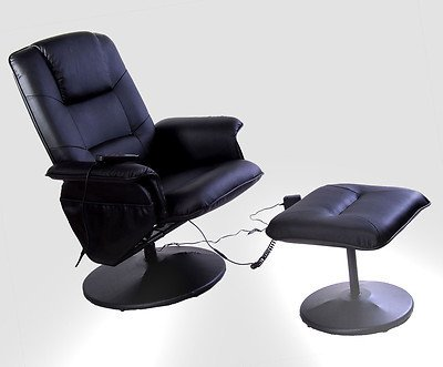 Exacme Black Office TV Home Threater Recliner Massage Chair With Ottoman 7911