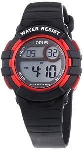 Lorus - R2379HX9 - Montre Mixte - Quartz Digital - Chronomètre/Eclairage - Bracelet Caoutchouc Noir