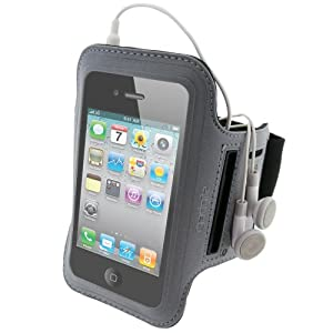 iGadgitz Black & Silver Reflective Neoprene Sports Gym Jogging Armband for Apple iPhone 4 HD 16GB & 32GB