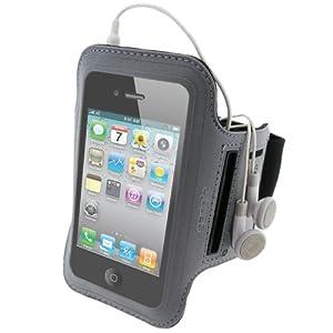 iGadgitz Black & Silver Reflective Neoprene Sports Gym Jogging Armband for Apple iPhone 4 HD 16GB & 32GB