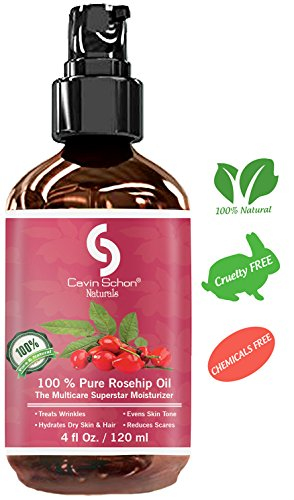 3 Pack of 4 fl Oz - Rosehip Seed Oil - 100% Pure & Unrefined Virgin Oil - Natural Moisturizer for Face, Skin, Hair, Stretch Marks, Scars & Wrinkles - Omega 6, Vitamin A & C