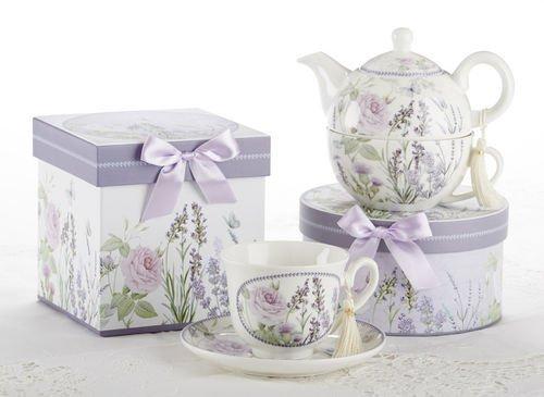 Porcelain Tea for One Tea Pot, Lavander and Pink Rose Pattern, Matching Keepsake Box
