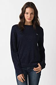 L!VE Long Sleeve Lurex Pointelle Crewneck Sweater
