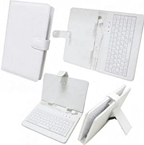 """Time2 7"""" Inch PU Leather Look Case and Qwerty USB - Marble White"""