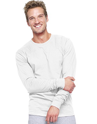hanes-beefy-t-mens-long-sleeve-t-shirt-5186-m-white