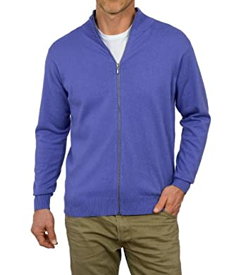 Wool Overs Men's Cashmere & Cotton Zip Cardigan Alpine Blue Extra Small
