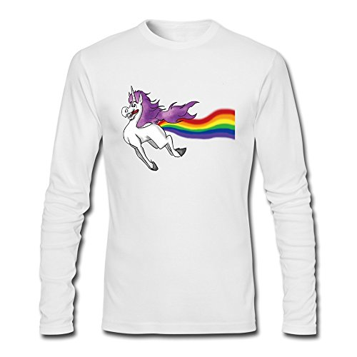 [Men's Unicorn Farting A Rainbow T-shirts Long Sleeve White] (Rogue X Men Days Of Future Past Costume)