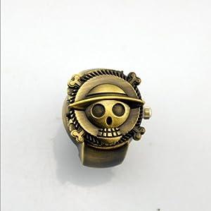 Bronze Vintage One Piece Luffy Skull Quartz Ring Watch