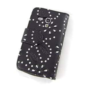 Ledertasche Handytasche Business Case Cover Samsung Galaxy S3 mini i8190 Smartphone Etui Flip Leder Glitzer shiny chic Fashion Blink Strass schwarz Blumen Blumenmuster