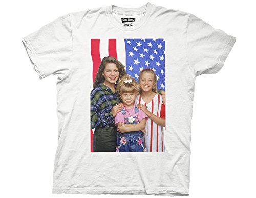Ripple Junction Full House 3 Girls American Flag Adult T-Shirt XL White (Full House Tee Shirt compare prices)