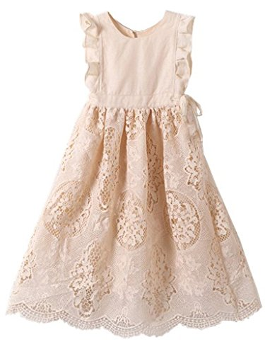 Bow Dream Flower Girl's Dress Vintage Lace Peach 6 (Girls Vintage Dress compare prices)