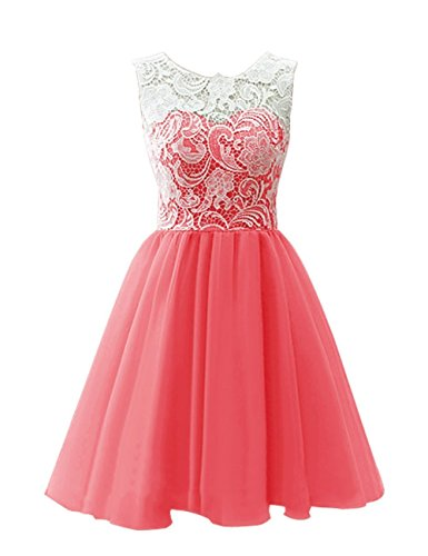 MicBridal Girl's Short Lace and Tulle Party Dress Evening Gown Size 12 Coral