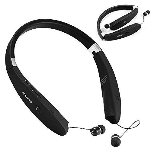 25 off bluetooth headset wireless stereo headphones with foldable neckband retractable earbuds. Black Bedroom Furniture Sets. Home Design Ideas