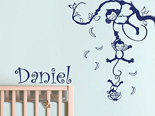 Wall Decal Vinyl Sticker Decals Art Decor Design Custom Name Funny Monkey Animals Jungle Branch Baby Kids Children Game Room Nursery (R856) front-837167