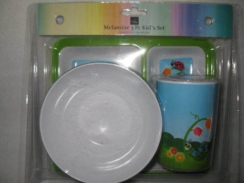 Melamine 3 Pc Kid's Set - Cute Bugs