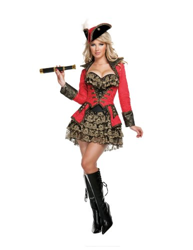 [Starline Sexy Red Pirate Women's 4 Piece Costume Set, Red, Medium] (Period Piece Halloween Costumes)