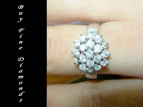 1.00 Carat H/SI 19 Diamonds Cluster Ring 9k Heavy White Gold, Size I